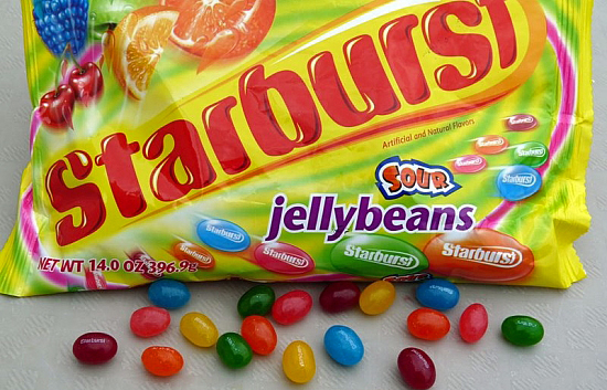 Starburst Sour Jelly Beans. Not yo Grandma's Beans-But Quite Possibly Your Brother's.