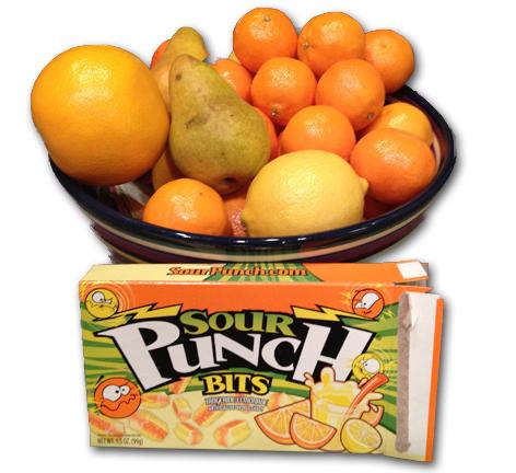 Sour Punch Bits Tangerine & Lemonade.  They're Orange At Least.